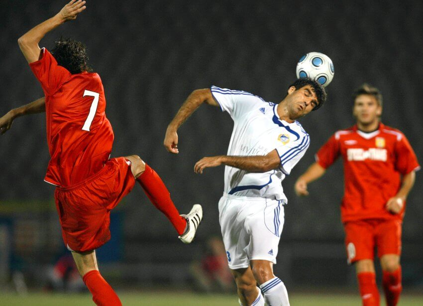 Kuzma of MFK Kosice challenges Scepanovic of FK Slavija during their UEFA Europa League qualifying soccer match in Sarajevo